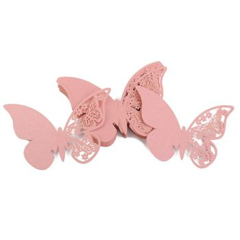 Lot of 50pcs Cup Card Place Tag Butterfly Table Decoration for Wedding Ceremony - Pink