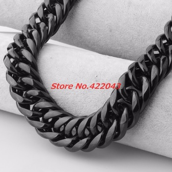 Granny Chic 9/11/13/16/20/22mm CUSTOMIZE Length Stainless Steel Necklace Bracelet BLACK Curb Cuban Chain Boy Men Fashion jewelry