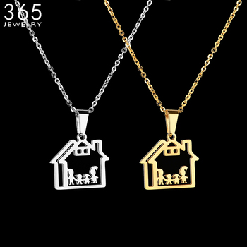 Family Jewelry Stainless Steel Dad Mom Boy Girl Necklace Gold Color Hollow House Pendant Necklace For Women Birthday Gift