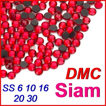 Top Grade Quality ! SS6 10 16 20 30 Siam (Red) Crystal DMC Flatback Hot Fix Rhinestone Beads Jewelry Women Wedding DIY Clothes