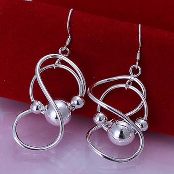 !!Wholesale Silver Plated Earring,Wedding Jewelry Accessories,Fashion 8 Words Hanging Beads Ball Silver Earrings