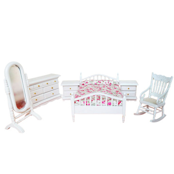 Dollhouse Bedroom Furniture Set 6 PCS Bed Rocking Chair Dressing Mirror Cabinet