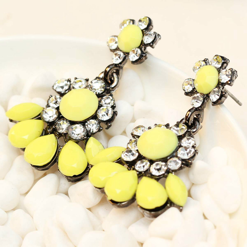 Women's fashion earrings brand sweet metal with gems stud crystal earring for women girls