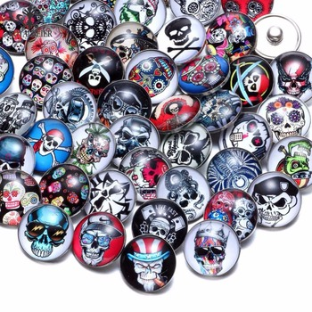 RoyalBeier 50pcs/lot Sugar Skull & Skeleton Theme Glass Charms 18mm Snap Button For 20mm Snaps Bracelet Snap Jewelry KZHM077