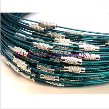 18 Inch 100PCS/LOT Emerald Green Stainless Wire Cable 1MM Steel Chain Cord Necklace Screw Clasp
